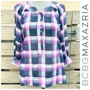 BCBG MAXZARIA Silk Plaid Tunic Top